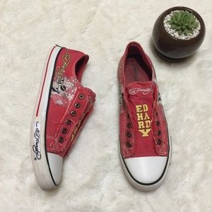 Ed Hardy Red Tattoo Canvas Shoes
